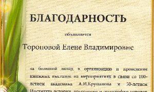 Благодарность Тороповой Е.В.-миниатюра